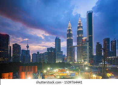Aerial view of sunset at Kuala Lumpur city skyline