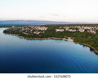 Aerial view of the sunset on the Croatian island of Krk