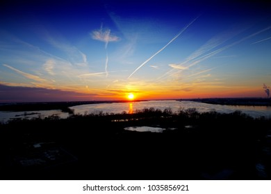 Aerial View of Sunset on River