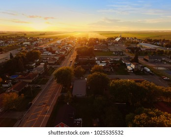 Aerial view of sunset on a small town