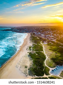 Aerial view of sunset on Sydney's Northern Beach's, north curl curl