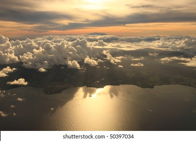 Aerial view sunset over Antigua in the Caribbean