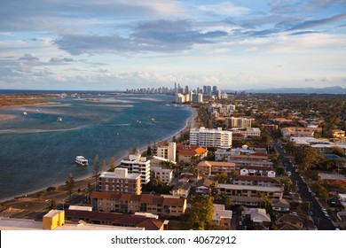 Aerial view of sunset over the  Gold Coast shoreline