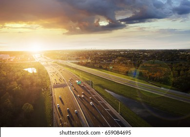 Aerial view of sunset over a highway in Orlando, Florida.