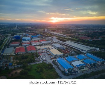 Aerial view of sunset over Industrial Estate in Shah Alam, Malaysia.