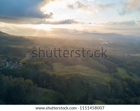 Aerial View Sunset Over Rice Terraces Stock Photo (Edit Now