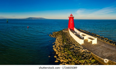 Aerial view Sunset Poolbeg lighthouse in Ireland, Dublin bay