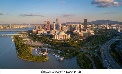Aerial view Sunset of Seoul City Skyline,South Korea
