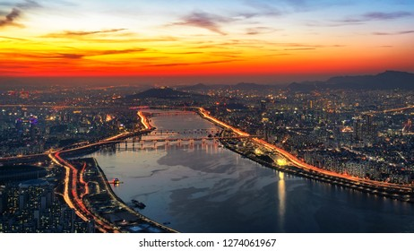 Aerial view Sunset at Seoul Sky in South Korea.