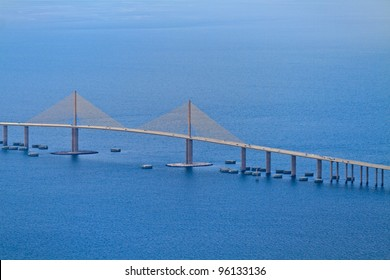 Aerial View of Sunshine skyway bridge, Florida (near St. Petersburg)