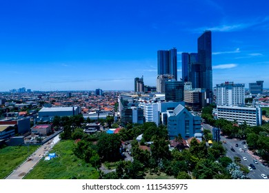 Aerial View of Surabaya Cityscape, East Java, Indonesia, Asia