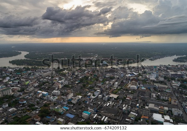 Aerial view of Suratthani city at Thailand with Skyscraper scene