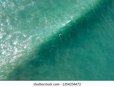 Aerial view from a surfer in a Surf Spot. Drone photo