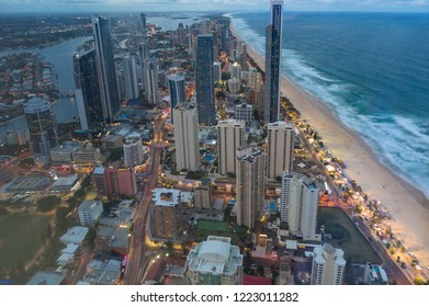 Aerial view of Surfers Paradise in Gold Coast, Australia at night