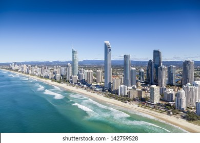 Aerial view of Surfers Paradise on the Gold Coast, Queensland, Australia - Shutterstock ID 142759528