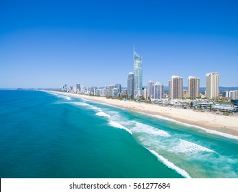 An aerial view of the Surfers Paradise skyline on a clear day in Queensland, Australia