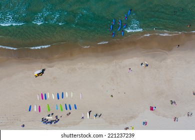 Aerial view of surfing school on the Gold Coast, Australia
