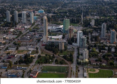 Aerial view of Surrey Central in Greater Vancouver, British Columbia, Canada.