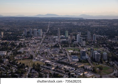 Aerial view of Surrey Central Mall in Greater Vancouver, British Columbia, Canada.