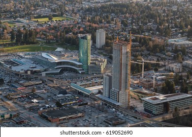 Aerial view of Surrey Central with New Highrise Construction. Picture taken in British Columbia, Canada.
