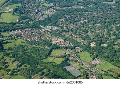 Aerial view of the Surrey town Virginia Water.  The landmark Victorian former Holloway Sanatorium is towards the middle of the image, it has been converted to a high class residential development.