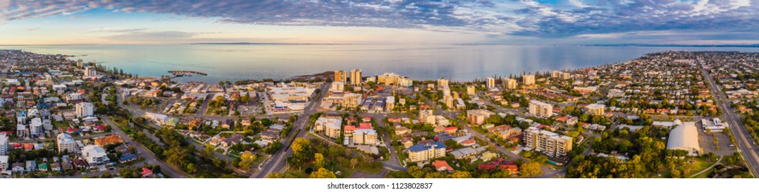 Aerial view of Suttons Beach area and jetty, Redcliffe, Queensland, Australia
