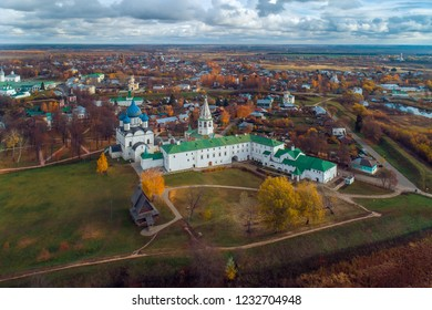 Aerial view of the Suzdal Kremlin in the fall. The Kremlin is the historical center of Suzdal, Russia.