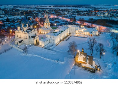 Aerial view of the Suzdal Kremlin on a winter evening. Suzdal is included in the tourist route called the Golden Ring of Russia.