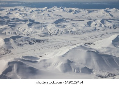 Aerial view of Svalbard Spitzbergen with blue sky