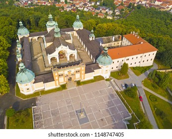 Aerial view of Svata Hora (Holy Mountain). Oldest christian pilgrimage place in central Europe. Beautiful landmark in Pribram, Czech republic, Europe.