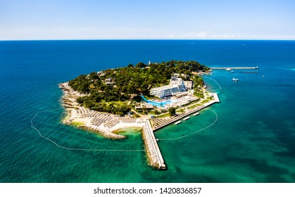 Aerial view of Sveti Nikola island near Porec, Croatia