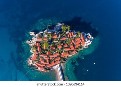 Aerial view of the Sveti Stefan. Montenegro.