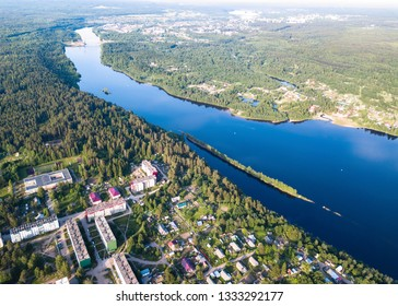 Aerial view of the Svir river, Leningrad region - Russia.