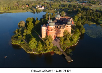 Aerial view of the Swedish 16 th century Gripsholm castle located in Mariefred a town in the province of Sodermanland during the morning in the summer season.