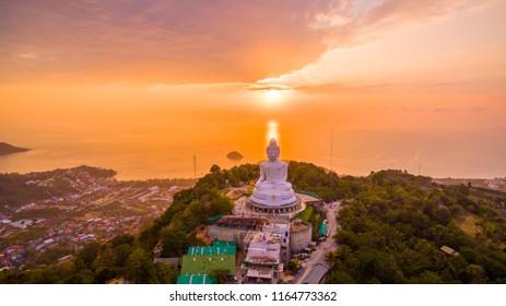 aerial view sweet sunset at Phuket big Buddha. Phuket Big Buddha statue is one of the island most important and revered landmarks on the island.