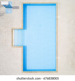 Aerial view of swimming pool with shower outdoors. Beautiful pool with clear water as texture background concept. Top view.
