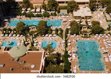 Aerial view of swimming pools at the Bellagio Hotel in Las Vegas
