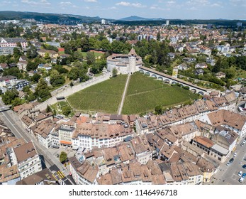 Aerial view of the Swiss old town Schaffhausen, with the medieval castle Munot. Munot is the landmark of this town.