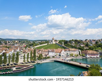 Aerial view of the Swiss old town Schaffhausen