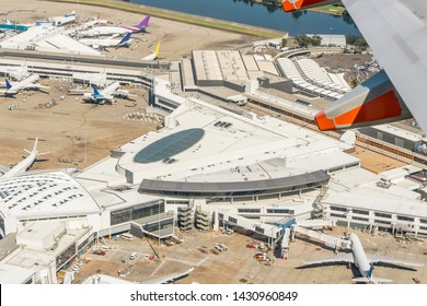 Aerial view of Sydney airport, Australia, on a beautiful sunny day