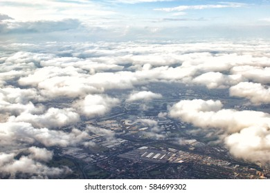 Aerial view of Sydney, Australia, photo taken just before landing to Sydney airport.View from above the clouds.