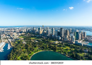 Aerial view Sydney Central Business Districs and Royal Botanic Gardens. View on Sydney harbourside suburbs from above. Aerial view on Sydney harbourside, Sydney CBD, Sydney Royal Botanic Gardens