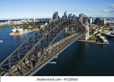 Aerial view of Sydney Harbour Bridge in Australia. Horizontal shot.