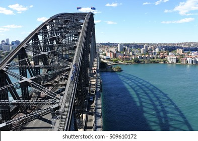 Aerial view of Sydney Harbour Bridge from the south-eastern pylon containing the tourist lookout towards North Sydney, New South Wales Australia.