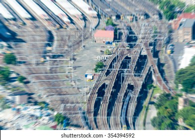 Aerial view of Sydney train station.