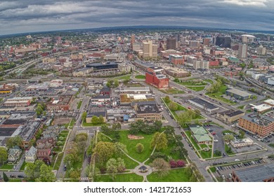 Aerial View of Syracuse, New York on a Cloudy Day