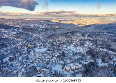Aerial view of Szklarska Poreba town in winter with a lot of snow, Poland.