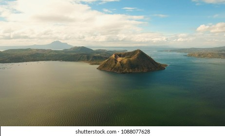 Aerial view Taal Volcano on Luzon Island North of Manila in Philippines. Volcano with a crater on an island in the middle of a lake. Luzon, Philippines. Travel concept.