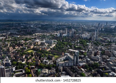 Aerial view of Tabard Gardens and Strata SE1 and other Southwark highrise residential towers in central London from The Shard London, England - June 8, 2019