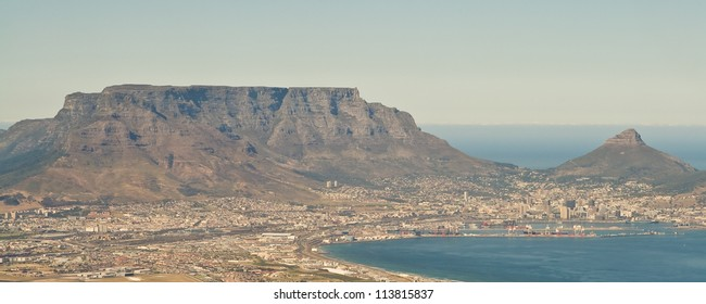 An aerial view of Table Mountain and Lion's Head Peak.